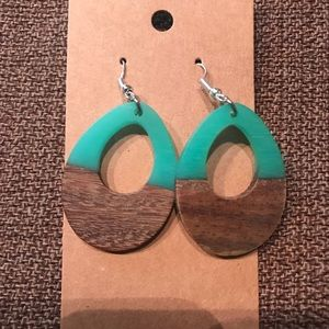 Teal and wood acrylic teardrop earrings.